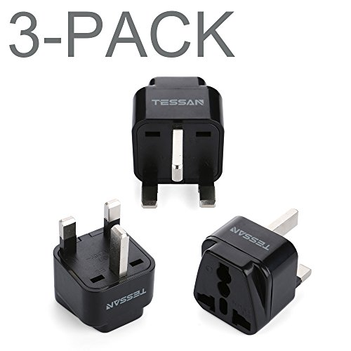 TESSAN Grounded Universal European Travel Plug Adapter USA to UK Travel Prong Adapter Plug Kit for UK (TypeG) - 3 Pack
