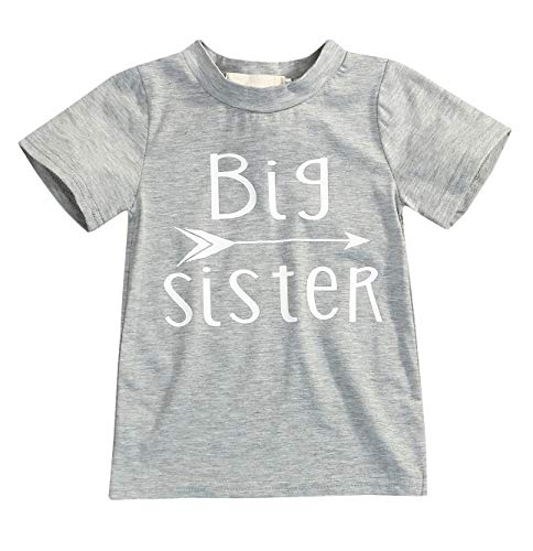 YOUNGER STAR 1PC Children Baby Boy Gray Letter Print Short Sleeve T-Shirt Clothes Outfit (3T, Gray-Sister) (Brother Sister Clothes)