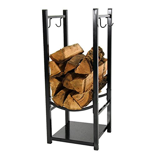 Sunnydaze Indoor/Outdoor Fireside Log Rack with Tool Holders, 13 Inch Wide x 32 Inch