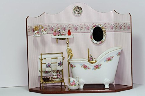 Dollhouse Miniature 1:12 Scale Bathroom Scene Diorama by Dollhouse Miniature