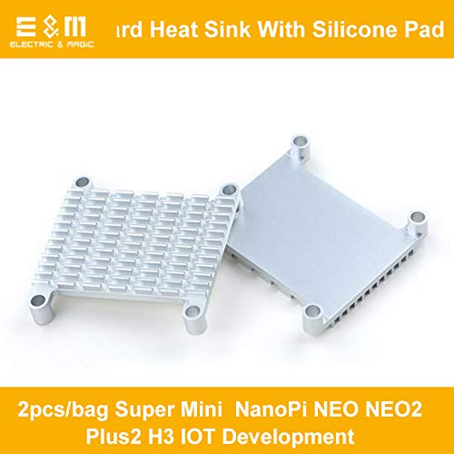 2pcs Super Heat Sink Mini Pi NanoPi NEO NEO2 Plus2 H3 IOT Development Board Air Cooling fin; with Silicone Pad