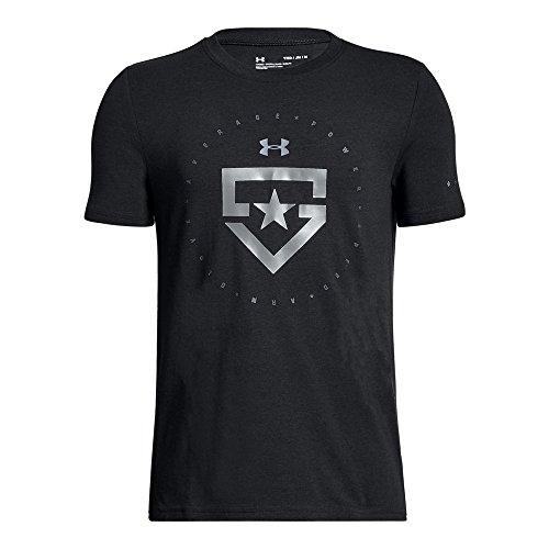 Under Armour Boy's Boys' Heater T-Shirt,Black (001)/Metallic Silver, Youth ()