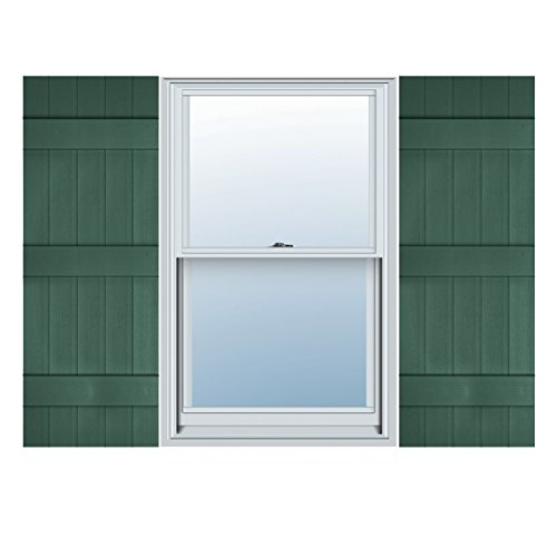 "Price comparison product image Ekena Millwork LJ5C17X06300FG Lifetime Vinyl,  Custom Five Board Joined,  Board-n-Batten Shutters,  w / Shutter-Loks (Per Pair),  17 1 / 2"" W x 63"" H,  Forest Green"