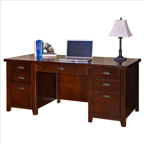 Solid Executive Office Wood Furniture - kathy ireland Home by Martin Tribeca Loft Cherry Double Pedestal Executive Desk - Fully Assembled