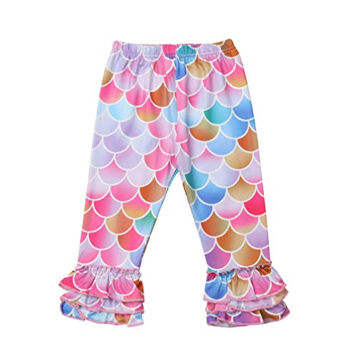 (Toddler Kids Baby Girl Rainbow Mermaid Ruffle Bottom Pants Leggings Striped Fish Scale Icing Flower Trousers (4-5T, Fish Scale))