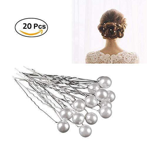 20PCS Fashion Bridal Wedding Prom White Pearl Silver Hair Pins Clips Barrette Hairpins Hair Style Accessories