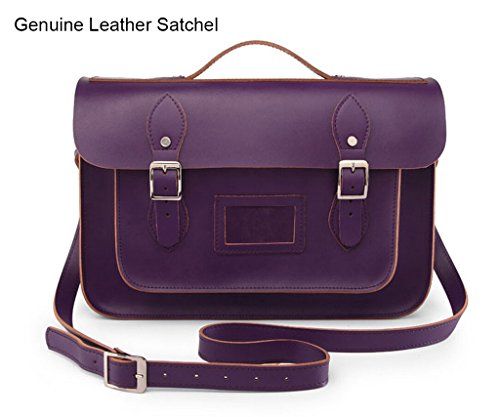 Actlure 100% Genuine Leather Crossbody Satchel Back To School Bag 15 Inch
