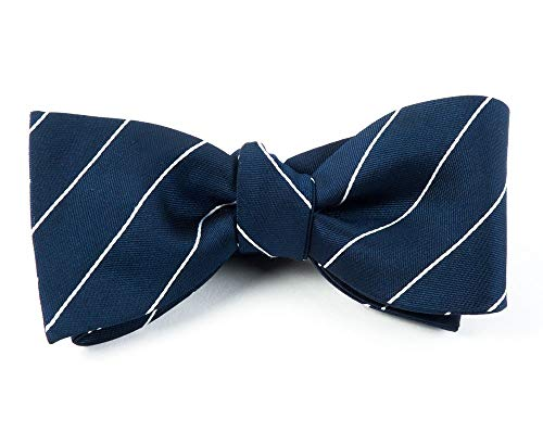 (The Tie Bar 100% Woven Silk Navy Blue Pencil Pinstriped Self-Tie Bow Tie)