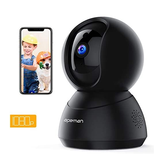 - 41PqXJeb82L - [New Version] APEMAN WiFi Camera 1080P Pet Camera Baby Monitor Compatible with Alexa Home IP Wireless Security Camera Motion Tracking/Detection 2-Way Audio IR Night Vision Pan/Tilt/Zoom
