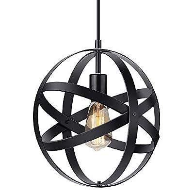 KingSo Industrial Metal Pendant Light, Spherical Pendant Light, Black Hanging Metal Globe Ceiling Light Fixture for Kitchen Island Dining Room Bedroom Farmhouse Entryway Foyer Table Hallway