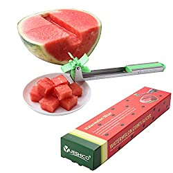 Yueshico Stainless Steel Watermelon Slicer Cutter Knife Corer Fruit Vegetable Tools Kitchen Gadgets with Melon Baller Scoop Extra