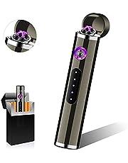Punvot Elektrische Aansteker, USB Elektronische Aansteker, Plasma Aansteker Touchscreen Oplaadbaar Winddicht Aansteker met LED Batterij Indicator, als Cadeau Voor Mannen, Lange Levensduur