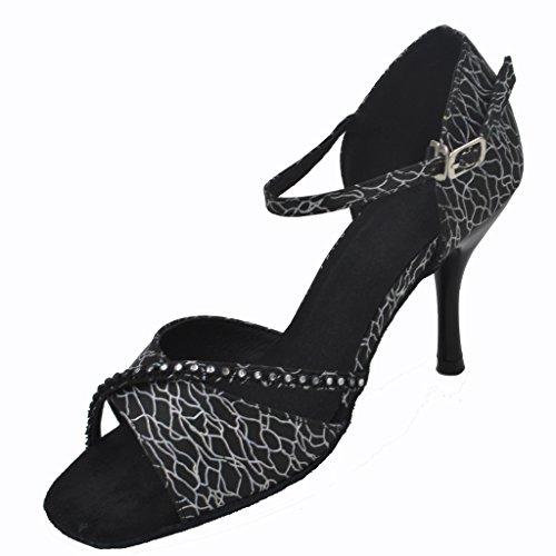 Jig Heel Latin with Dance Black for Women Salsa toe Open Tango Foo and 75 Sandals Ballroom 2 White Shoes rwISZr