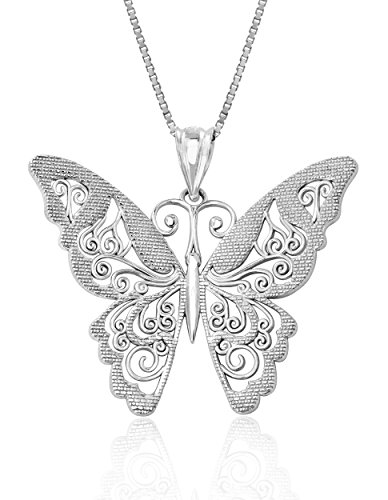 - Honolulu Jewelry Company Sterling Silver Filigree Butterfly Necklace Pendant with 18