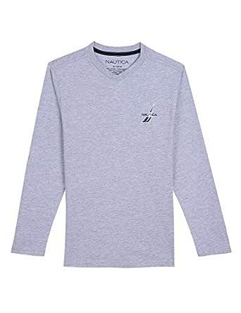 Nautica Toddler Boys' Long Sleeve V-Neck T-Shirt, Simmons Grey Heather, 2T