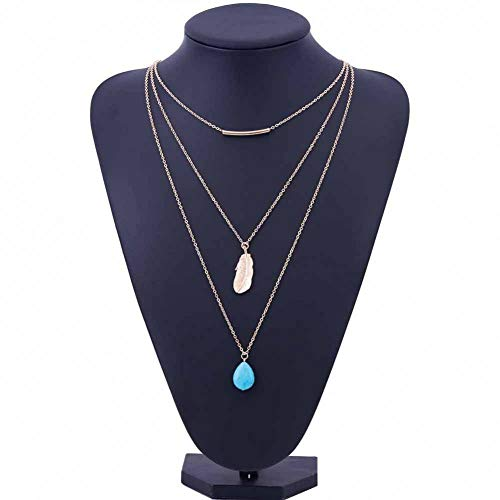 GAJSDJHN Necklace Jewelry Layered Necklace of 3 Drops Blue Stone Feather Necklaces Women Clavicle Necklace