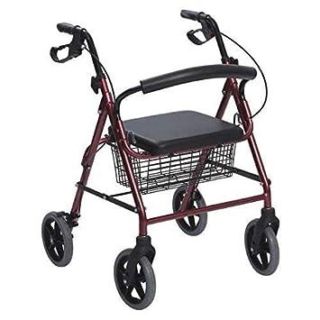 Andador de Aluminio Plegable Rojo 4 Ruedas - Andador Para Ancianos ...