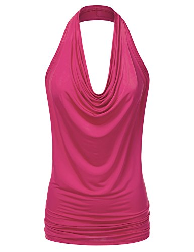 CLOVERY Women's Halter Neck Draped Front Open Back Top Fuchsia ()