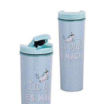 Hogar y Mas Botella hermética con Frase Original La Vida es mágica, 450 ml Azul
