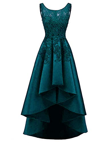 - Plus Size Prom Dresses for Women Evening Dress 2019 Lace Appliqued Satin Scoop Neck High Low Party Dress for Women ZY07 Teal Size 16