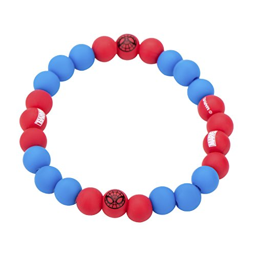 Marvel Comics Women's Spider-Man Silicone Beads Stretch Bracelet, Red/Blue, Expandable]()