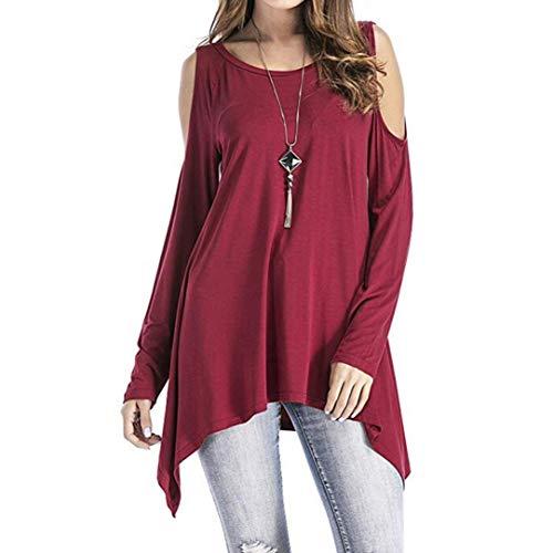 FTXJ Fashion Women Long Sleeve O-Neck Cold Shoulder Swing Asymmetrical Tunic Tops -