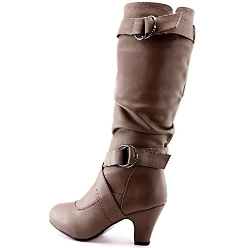 Top Pu Pocket DailyShoes Slouchy Taupe Strappy Boots 2