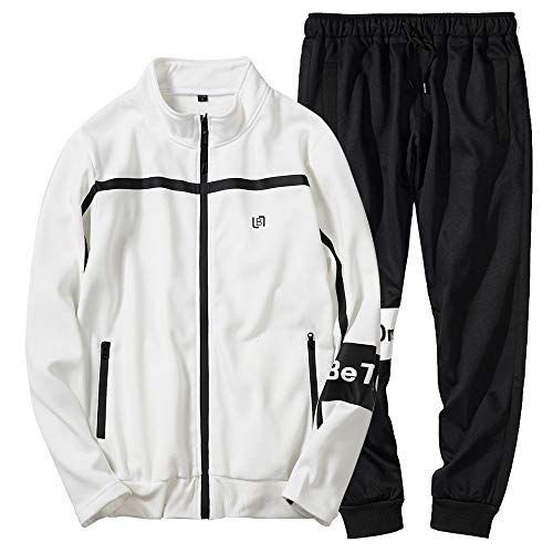 Men's Casual Tracksuit Long Sleeve Running Jogging Athletic Sports Set White