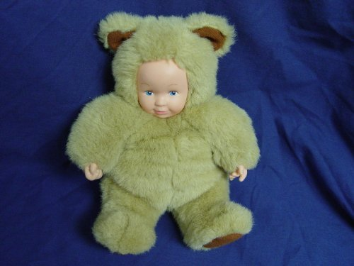 "1998 Anne Geddes Light Brown Teddy Bear Doll Plush Bean BAG 9"" Tall"