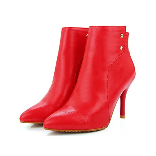 Toe WeiPoot Heels Closed Material high Solid Pointed Women's Soft High Red Boots Ankle xqCHp