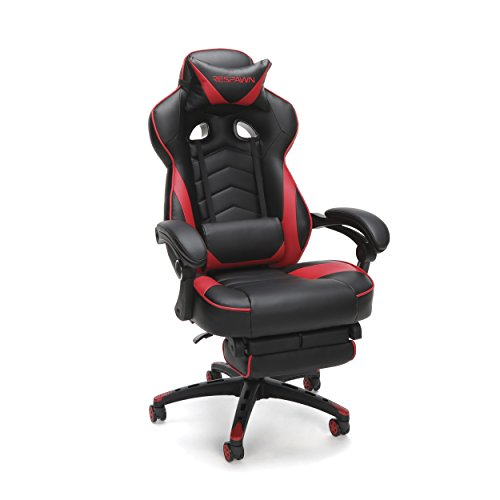 RESPAWN-110 Racing Style Gaming Chair - Reclining Ergonomic Leather Chair with Footrest, Office or Gaming Chair (RSP-110-RED)