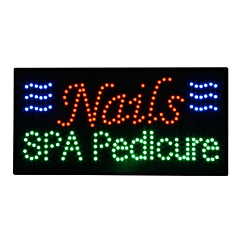 LED Nails Spa Pedicure Open Light Sign Super Bright Electric Advertising Message Display Board for Business Shop Store Window Bedroom (24 x 12 inches) ()
