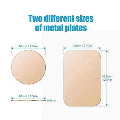 Mount Metal Plate with Adhesive for Magnetic Cradle-Less Mount -X4 Pack 2 Rectangle and 2 Round (Compatible with WizGear mounts) (Gold)