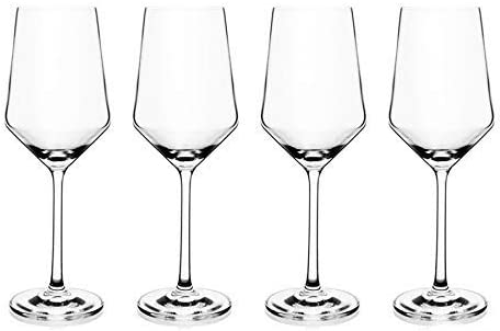 Amazon Com Premium Crystal Wine Glass For White Or Red Wines 13oz Lead Free Classic Modern Elegant Shape With Laser Cut Sleek Rims Perfect For Weddings And Gifts Set Of 4