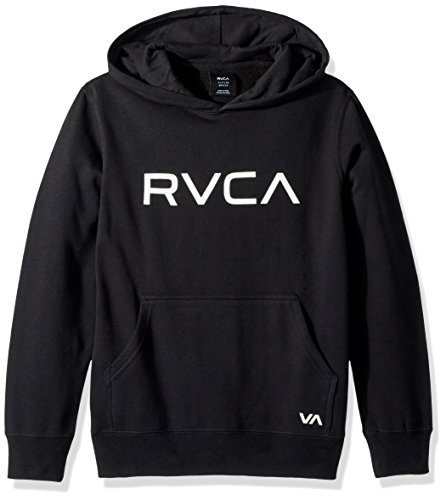 RVCA Boys Big PO Pullover Hoodie, Black, M