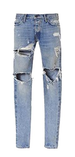 Men's Fashion Ripped Destroyed Jeans Holes Light Blue Denim Pants