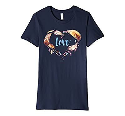 Tribal Native American Feathers With Love In Heart T-Shirt.