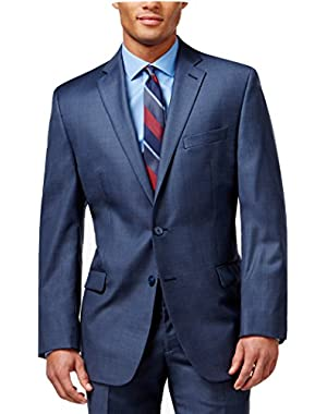 Calvin Klein Slim Fit Blue Textured Wool 2 Button Flat Front New Men's Suit Set
