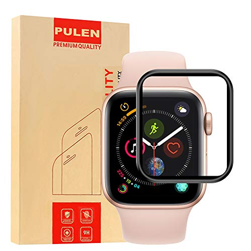 PULEN for Apple Watch Series 4 Screen Protector 40mm,3D Full Screen Coverage 9H Surface Hardness Anti-Fingerprint HD Tempered Glass Film Apple Watch Series 4 2018 40mm Version(Black)