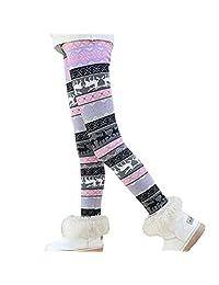 Csbks Girls Fleece Lined Thick Leggings Colorful Autumn Winter Warm Pants