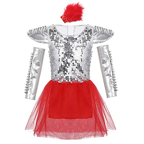inlzdz Kids Girls Boys Sparkle Sequins Jazz Hip Hop Latin Performing Costume Street Dance Dancewear Outfit Red Panty Set 10-12