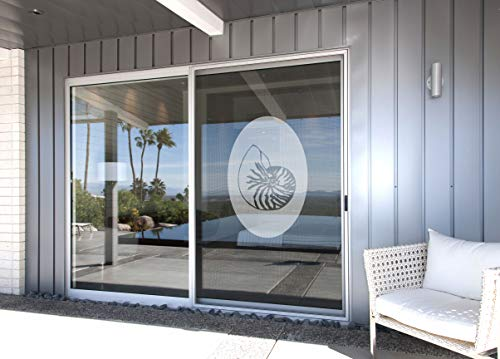 (Shell Design Two Oval - Coastal Design Series - Etched Decal - For Shower Doors, Glass Doors and Windows - 30