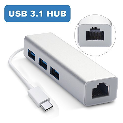 Motoraux USB-C 3.1 to 3-Port USB 3.0 Hub with Ethernet Adapter for USB Type-C Devices Including the new MacBook, ChromeBook Pixel and More