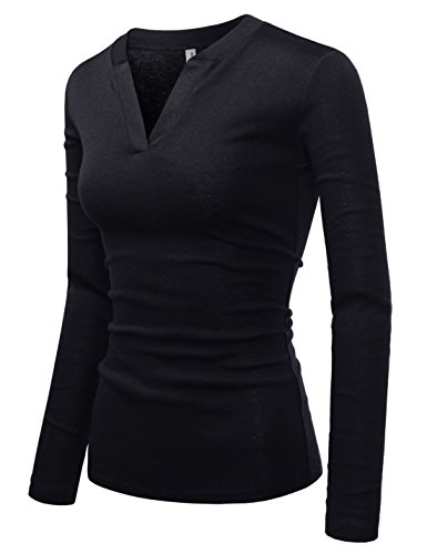 - NEARKIN (NKNKWVT609 Womens Slim Cut Look V-Neck Long Sleeve Fitted Cotton Tshirts Black US S(Tag Size M)