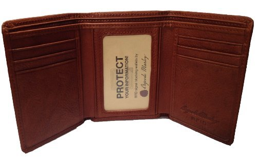 Osgoode Marley Cashmere RFID Blocking Mens Tri-Fold Leather Wallet - Brandy by Osgoode Marley ()