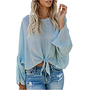 XOWRTE Light Blue for Women 3/4 Sleeve Long Sleeve T-Shirt Women Pullover Sweaters Casual Bandage O-Neck Tops