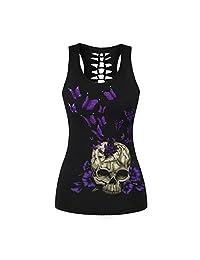 Ninimour Womens Skeleton Skull Digital Printed Sleeveless T Shirt Vest Tank Tops