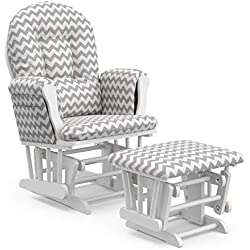 Storkcraft Premium Hoop Glider and Ottoman (White Base, Gray Chevron Cushion) - Padded Cushions with Storage Pocket, Smooth Rocking Motion, Easy to Assemble, Solid Hardwood Base