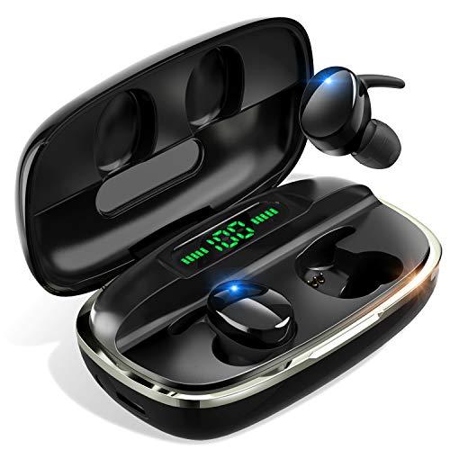 【2020最新型 Bluetooth5.1技術 即時接続】 Bluetooth イヤホン Hi-Fi高音質 瞬時接続 自動ペアリング LEDディスプレイ残量表示 4000mAh充電ケース付 最大680時間待ち受け 完全ワイヤレス イヤホン 3Dステレオサウンド CVC8.0ノイズキャンセリング AAC対応 IPX7防水 両耳 左右分離型 ブルートゥース イヤホン 音量調整 マイク内蔵 ハンズフリー通話 技適認証済 iPhone/iPad/Android対応 (黒色)