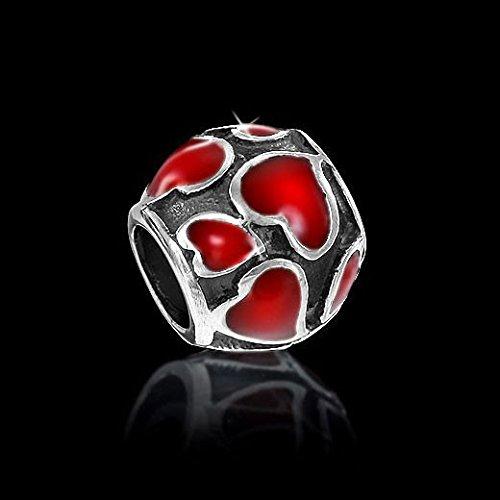 Materia Bijoux Argent 925Beads Cœur émail Élément vieilli–Argent Perles Boule Rouge pour Beads Bracelet # 767